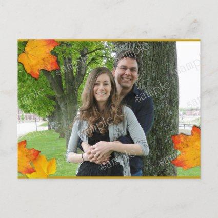 Fall Leaves Photo Template Wedding Announcement