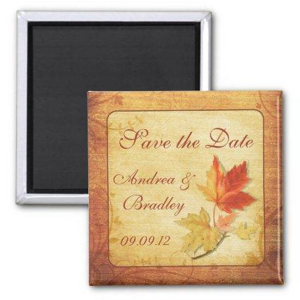 Fall Leaves Wedding Save the Date Magnets