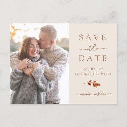 Fall Terracotta Leaves Photo Save The Date Announcement