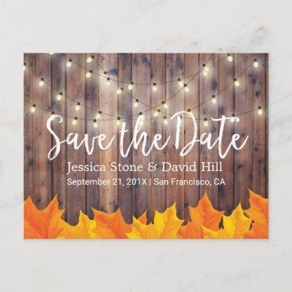Fall Wedding Autumn Leaves Barn Wood Save the Date Announcement