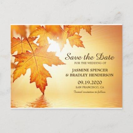 Fall Wedding Save The Date Cards With Leaves