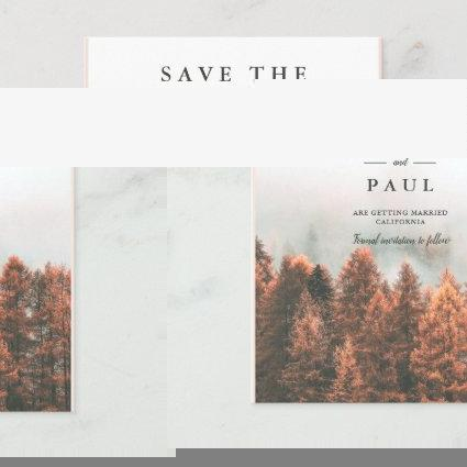 Fall winter pine trees forest photo save the date announcement