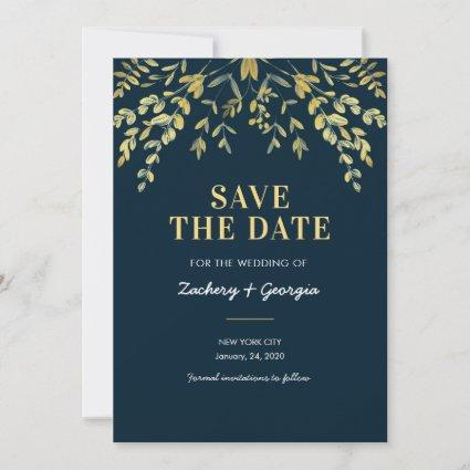 Falling Gold Leaves Save the date wedding