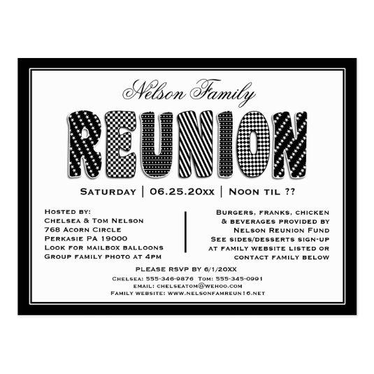 Family or Class Reunion B/W Pattern Invitation Cards