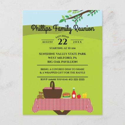 Family Reunion At The Park Picnic Table Invitation