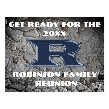 Family Reunion Blue Letter R Monogram Announcement