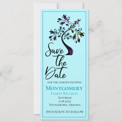 Family Reunion Blue Modern Floral Tree Save The Date