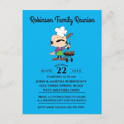 Family Reunion Funny BBQ Man Invitation