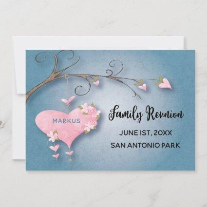 Family Reunion Gathering Save The Date Heart Tree
