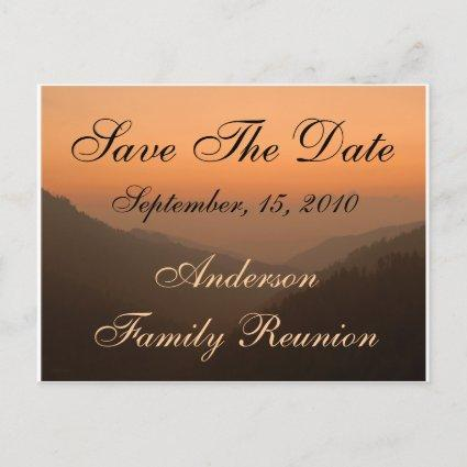Family Reunion Mountain Sunset Save The Date Announcement