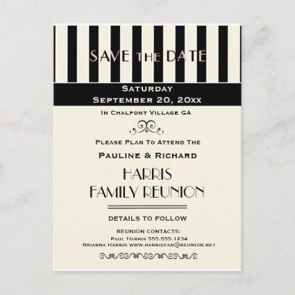 Family Reunion, Party, Event Striped Save the Date Announcement