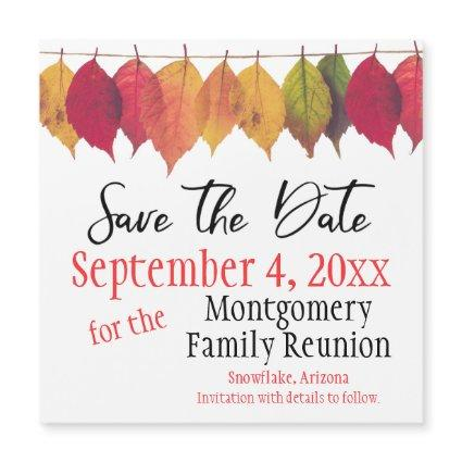 Family Reunion Save The Date Autumn Color Leaves