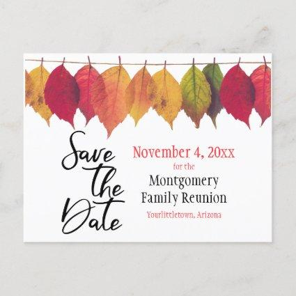 Family Reunion Save The Date Autumn Color Leaves Announcement