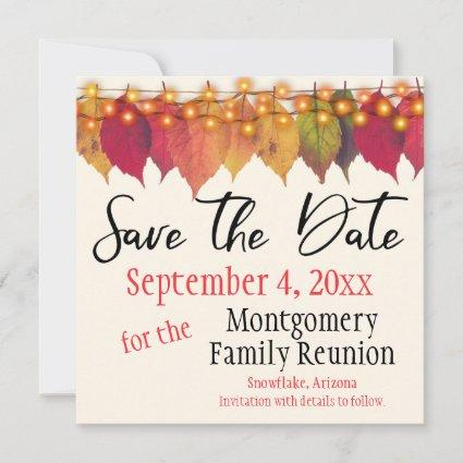 Family Reunion Save The Date Autumn Leaves