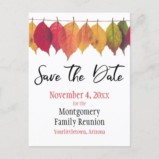 Family Reunion Save The Date Autumn Tree Leaves Announcement