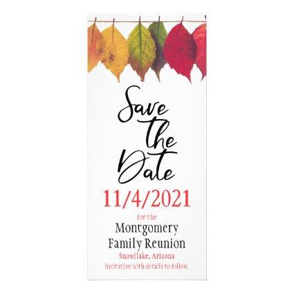 Family Reunion Save The Date Autumn Tree Leaves Rack Card