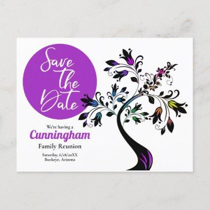 Family Reunion Save The Date Modern Colorful Tree Announcement