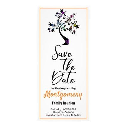 Family Reunion Save The Date Modern Colorful Tree Rack Card