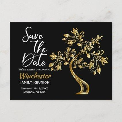 Family Reunion Save The Date Modern Gold Tree Announcement