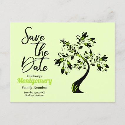 4a54f5945 Family Reunion Save The Date Modern Green Tree Announcement