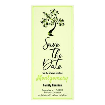 Family Reunion Save The Date Modern Green Tree Rack Card
