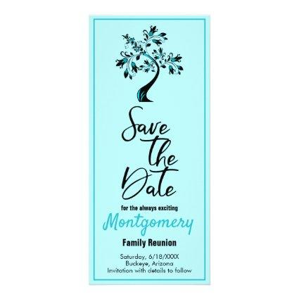Family Reunion Save The Date Modern Teal Tree Rack Card