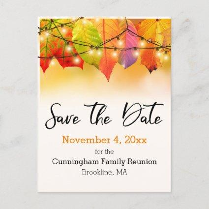 Family Reunion Save The Date String Lights Leaves Announcement