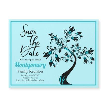 Family Reunion Save The Date Teal Tree Magnet Card