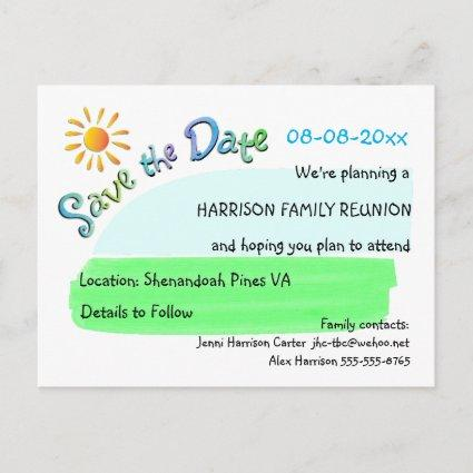 Family Reunion Sunshine Save the Date Cards