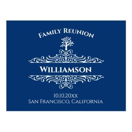 Family Reunion Tree Save The Date Blue