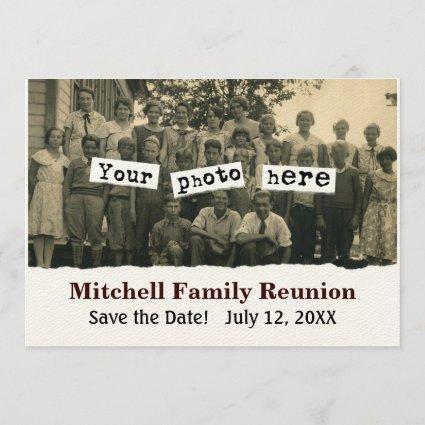 Family Reunion Vintage Photo Template Announcement