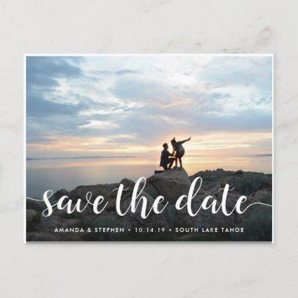 Fanciful Script | Photo Save the Date Announcement