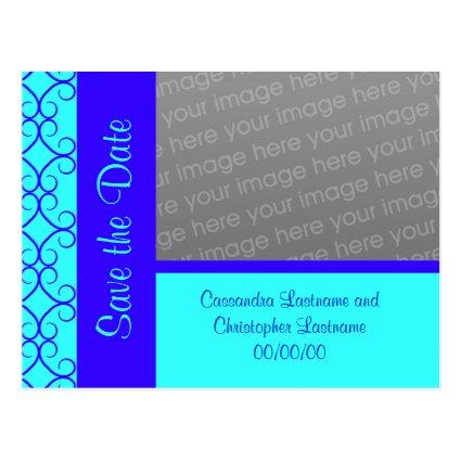 Fancy colorblock blue tones  wedding Cards