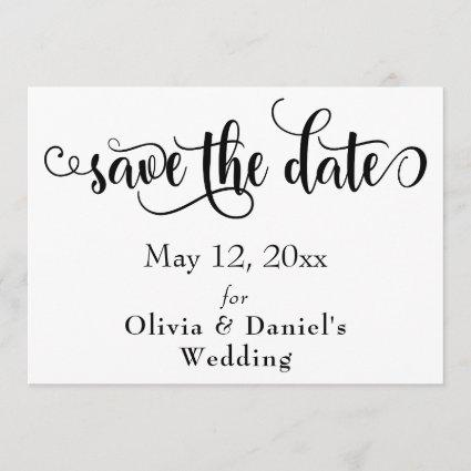 Fancy Script Letters Black & White Save the Date
