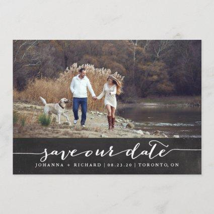 Faux Chalkboard Handwritten Script Save the Date