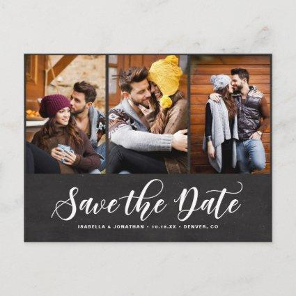 Faux Chalkboard Three Photo Collage Save the Date Announcements Cards