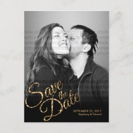 Faux Glitter Gold Save the Date Photo