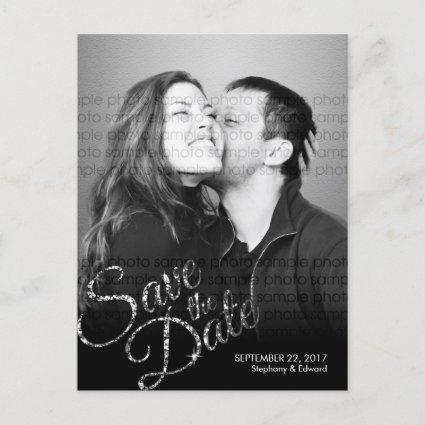 Faux Glitter Silver Save the Date Photo