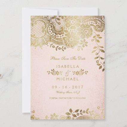 Faux gold blush elegant lace wedding save the date