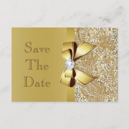 Faux Gold Bow Diamonds Save The Date Baby Shower