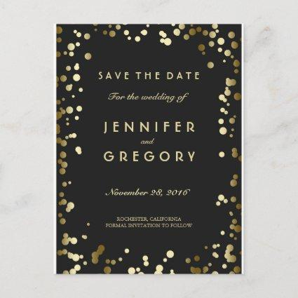 Faux Gold Confetti Black Save the Date Cards