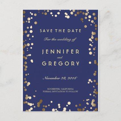 Faux Gold Confetti Navy Save the Date Cards