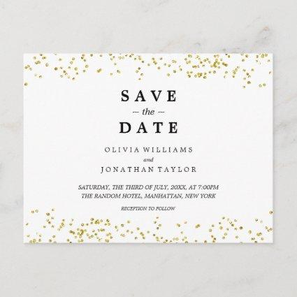 Faux Gold Confetti | Save The Date Cards