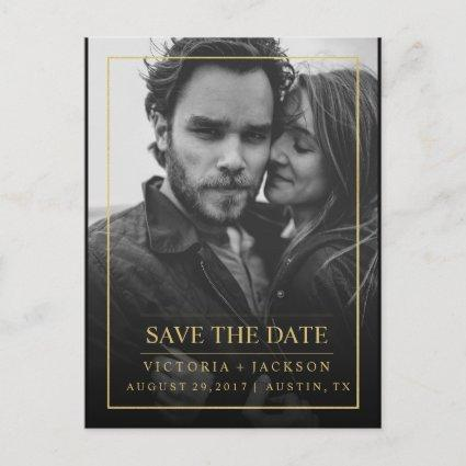FAUX GOLD  ELEGANT FRAME PHOTO SAVE THE DATE Announcements Cards