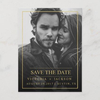 FAUX GOLD  ELEGANT FRAME PHOTO SAVE THE DATE ANNOUNCEMENT