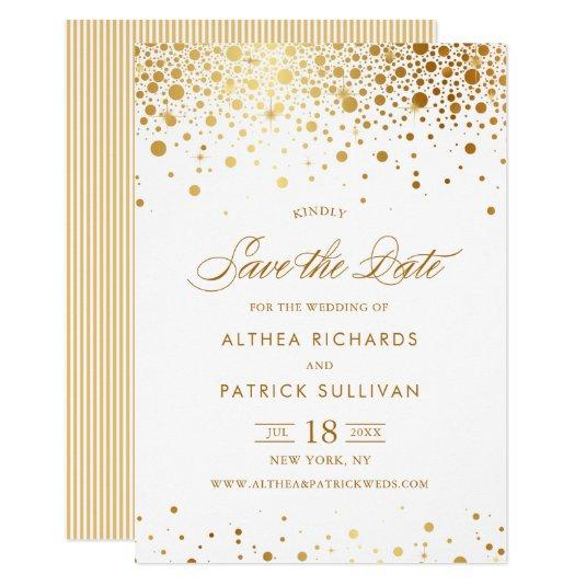 Faux Gold Foil Confetti Dots Save the Date Flat Card