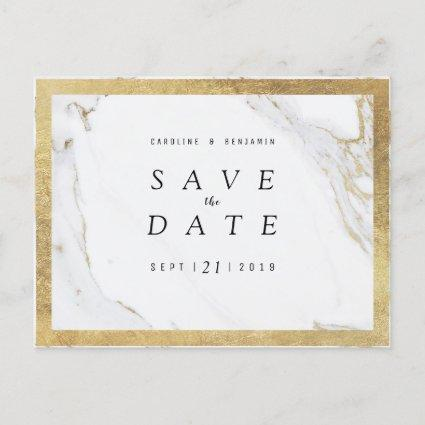 Faux gold foil marble luxury modern save the date announcement