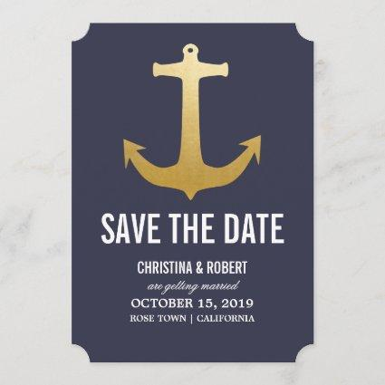 Faux Gold Foil Nautical Anchor Save The Date