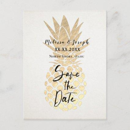 FAUX gold foil pineapple save the date Announcement