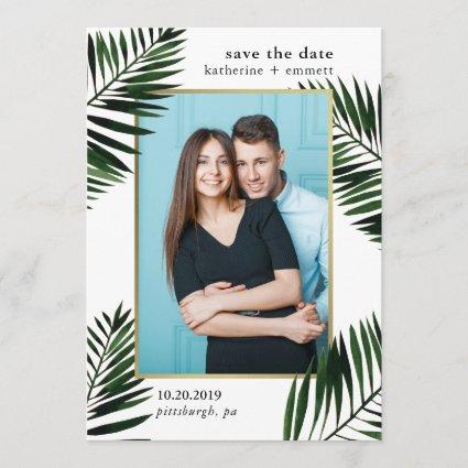 Faux Gold Frame with Palm Leaves Photo Save The Date